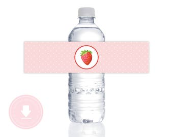 INSTANT DOWNLOAD Strawberry Water Bottle Labels (Strawberry Water Bottle Wraps, Strawberry Printable Water Bottle Labels, Berry Patch Party)