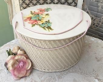 Charming Vintage Wicker Sewing Basket