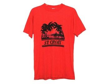 Vintage 80s ST. CROIX Virgin Islands Screen-Printed Bright Orange Souvenir T-Shirt- Size M