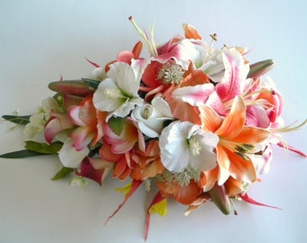 Stargazer Cascade Bridal Bouquet in Hot Pink and Orange Tropical Wedding Beach Wedding Real Touch Flowers-  Style #109A