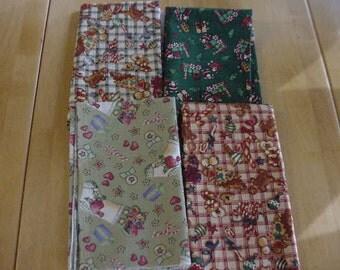2 Yards Christmas Fabric Juvenile Fabric, 4 Patterns 1/2 Yard Each, Gingerbread Men, Santas, Trains, Stockings, Candy Canes, Lot 100