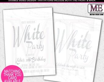 Glam, Stylish, White Party Invitations