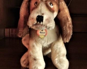 Sale-Steiff Vintage Basset Hound Dog IDs 1961-62 (only) #3314,00 Handmade German Collectible EX.Cond.  Rare !