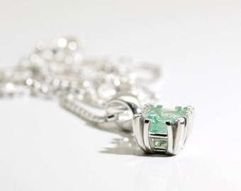 Emerald (Natural Colombian Emerald), 6mm x 6mm x 1.01 Carat, Octagon Cut, Sterling Silver Pendant Necklace