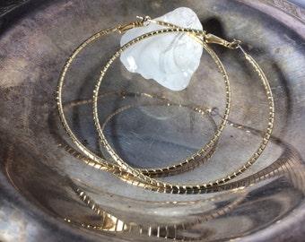Vintage Hoop Earrings Big Hoop Earrings Gold Tone Hoop Earrings Boho Hoops Patina Earrings Large Gold Hoop Earrings Bohemian Hoops