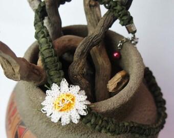 Necklace, Flower Necklace, Choker Necklace, Suede Necklace, Needle Lace Necklace, Turkish Oya Necklace, Crochet Necklace, Boho Necklace