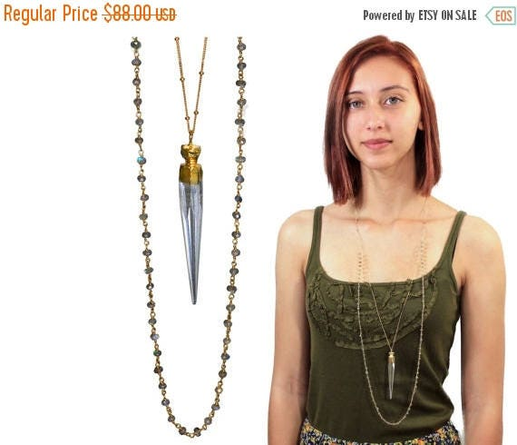 20% off. Bohemian Chic Rock Quartz Spike and Labradorite Rosary Chain Layered Necklace. 22k Gold Dipped Quartz Pendant. Boho Jewelry. NLL-17