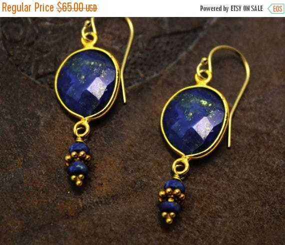 20% off. Lapis Lazuli Bezel Set Dangle Earrings. 22k Gold Vermeil. Gold and Blue Earrings. E-2011.