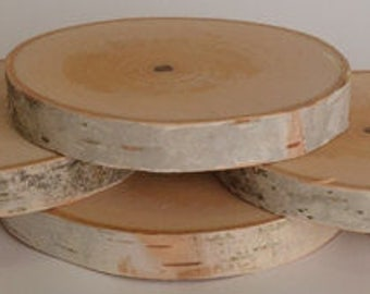 Birch Log Coasters. Set of six.