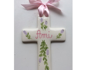 Hand painted Personalized Baby Gift Christening Baptism First Communion Cross