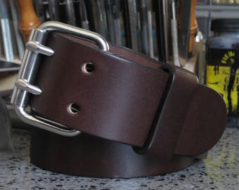 Mens Brown Leather Belt Mens Bridle Leather Belt Thick Leather Belt Wide Leather Belt 2 Prong Buckle Double Hole Leather Belt Angel Leather
