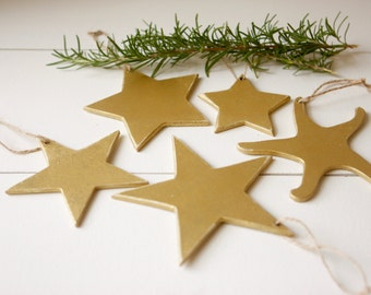 Gold Star Christmas Ornament • Set of 5 • Christmas Tree Ornament Set • Gold Christmas Tree • Gold Ornaments •  Wooden Stars • Free Shipping