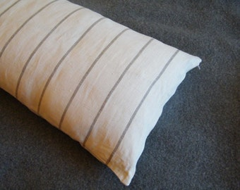 Natural Linen Pure Flax  Body Pillowcase, Pillow Cover, Lumbar Support, Pregnancy Sleep Pillow Case.  Stripes, Zipper closure.  Size options