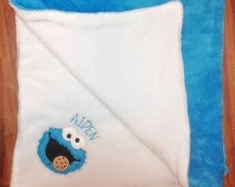 Cookie, Blue Monster, Cookie Lover Blanket, Personalized Blanket, Baby Blanket, Personalized Baby Blanket, Personalized Clothes, Nursery