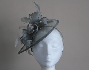 Silver Grey Gray Sinamay and Feather Fascinator Formal Hat on a hair band, Ascot, Melbourne Cup mother of the bride