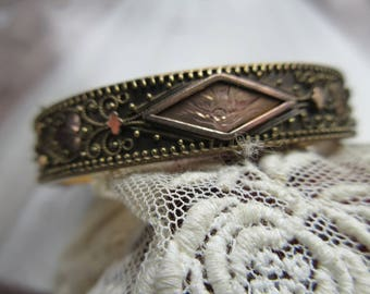 Victorian Etruscan Style Bangle, Antique Bangle Bracelet, Gold Fill Bangle, Estate Jewelry, Stacking Bracelets, Ornate , Engraved Bird Motif