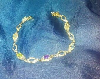 Sterling Silver Gold Gemstone Bracelet