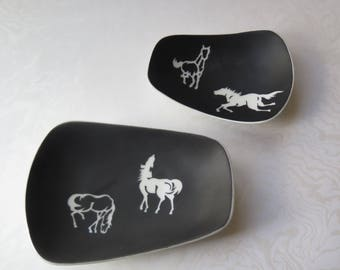 1970s Japanese Horse Dish Set of Two Trinket Trays OMC Black White Porcelain Ceramic Made in Japan Western Decor Otagiri Mercantile Company