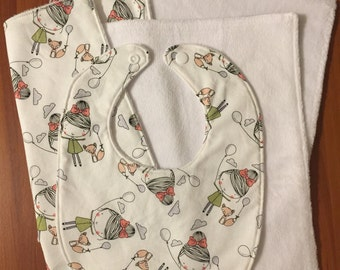 SALE - Baby - Girls & fox with balloons - 2 burp cloths and 1 bib