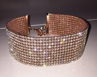 Choker, Wide Rose Gold Clear Crystal Choker, choker jewelry, crystal jewelry