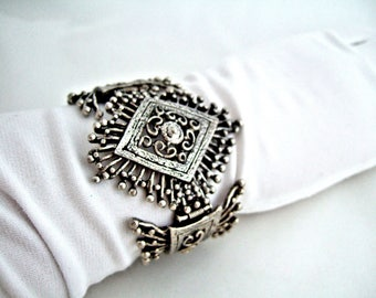 Elegant Silver Filigree Cuff Bracelet Unusual Rare Vintage Etruscan Style Gorgeous Statement Jewelry Dynamic Anniversary Gift for Wife