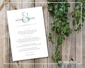 Printable Wedding Menu - Formal, Elegant Mint Green, Grey Dinner Menu - Minimalist Wedding Menu - Ampersand - Menu 5 x 7 - Custom Colors