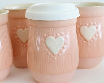 IN STOCK, Mother's Day Travel Mug with Silicone Lid, Small Ceramic To Go Coffee Mug, 16 oz Pink Mug with Heart, Small Commuter Mug