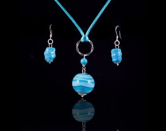 Sterling silver blue Murano jewelry set, delicate earrings and silk necklace, dainty elegant light blue jewelry, romantic gift for her