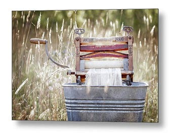 Laundry Room Metal Art Print, Home Decor, Unique Large Wall Art, Vintage Clothes Wringer Washer Photography, Ready to Hang Art, Housewarming
