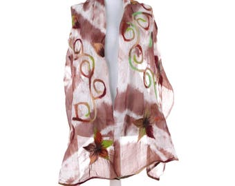 Scarf, Felt Scarf, Felted Scarf, Nuno Felted Scarf, Felted Shawl, Wrap Scarf, Silk Scarf, Felt Wrap, FAST shipment with UPS or FEDEX - 10528
