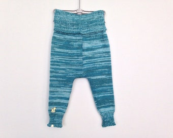 Baby Pants Trousers Leggings Clothing Knit Wool Warm Slim fit Boy Girl Wooden Button Teal