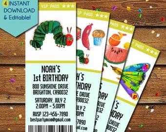 The Very Hungry Caterpillar Invitations, Very Hungry Caterpiillar Birthday Invitation, Very Hungry Caterpillar Party Invite, Eric Carle