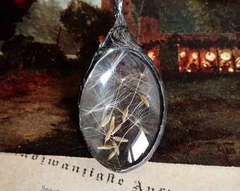 DANDELION necklace, Sale, terrarium necklace, woodland necklace,botanical,natural specimen,real plant jewelry, wild meadow,Boho,gift for her
