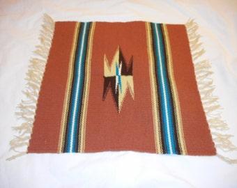 Wall Hanging, Native American, Textile, Handmade, Tan, Turquoise, White, Brown, Southwestern, Rustic, Tribal, Desert Tones, Home Decor