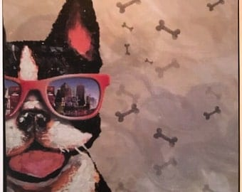 Boston Terrier with Sunglases Print Decoupaged on Wood