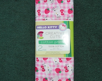 72 inches (2 yards) X 43 inches Hello Kitty with Strawberries print 100% Cotton folded Fabric