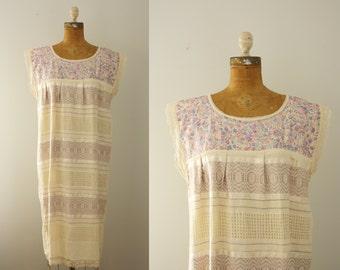 1960s embroidered dress | vintage 60s huipil dress