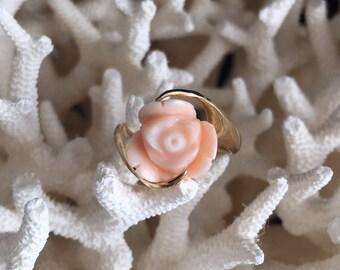 14 K Gold Rose Coral Ring Size 5.5 vintage carved angel skin peach coral