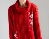 ON SALE Neo hippie embroidered flowers red sweater // 80s // S/L size