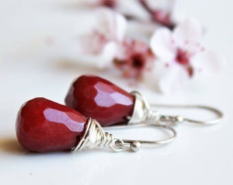 Red Jasper Earrings, Sterling Silver wire wrap, deep red gemstone, simple earrings, minimalist,holiday gift for her, modern artisan earrings