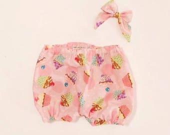 Birthday Cupcake Bloomers and Sailor Bow, Birthday Bloomers, Cupcake Bloomers, Birthday, Girls Birthday Bloomers