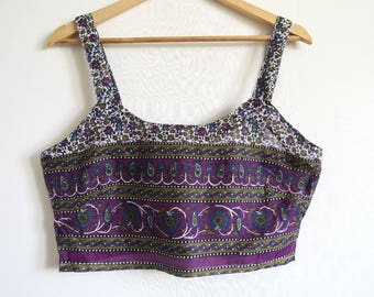 India Block Printed Crop Top, Spaghetti Strap Short Top, Paisley & Cornflower, Purple, Green, Blue, ATS Top Medium M/L