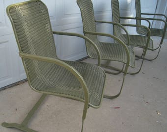 Vintage wicker rocker bouncy chairs by Lloyd original mid century modern outdoor patio set