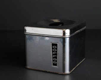 Vintage Coffee Canister by Lincoln BeautyWare Chrome Rectangle Storage Box