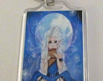 Moon Song big eye fairy faerie faery fantasy fine art KEYCHAIN by Ronne P. Barton