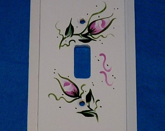Hand Painted Light Switch Cover Wood Shabby Chic Single Outlet Plug Cover Pink Roses Wooden Electrical Switch Plate Custom Wood Gift