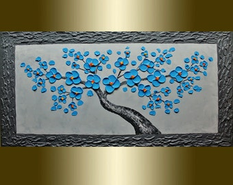 Oil painting blue flower Blooming Tree landscape painting Acrylic painting Surreal Heavy Palette Knife