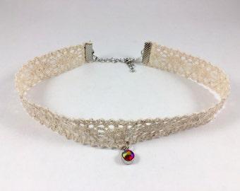 CHOKE ME CHOKER [ choker . lace . crystal . necklace . white . collar ]