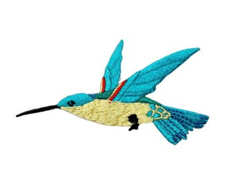 ID 0495C Blue Feathered Flying Hummingbird Patch Embroidered Iron On Applique
