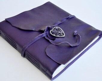"Handmade Leather Journal 9 1/2"" x 9 1/2"" - 140 lb watercolor paper - Sketchbook"